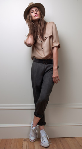 Iman Shirt ($119), Kaylyn Pleated Pants ($139), Reese Fedora