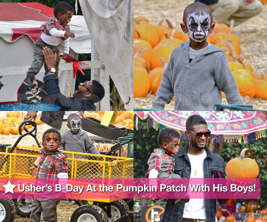 Cute Pics: Usher Spends 32nd Birthday at the Pumpkin Patch With His Sons!