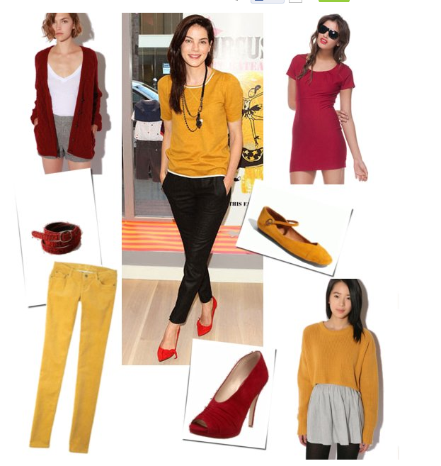 There's a hot new color combo to try: red + mustard a la Michelle Monaghan.
