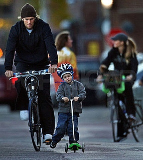 Pictures of Tom Brady, Gisele Bundchen, and Jack Riding Bikes in Boston