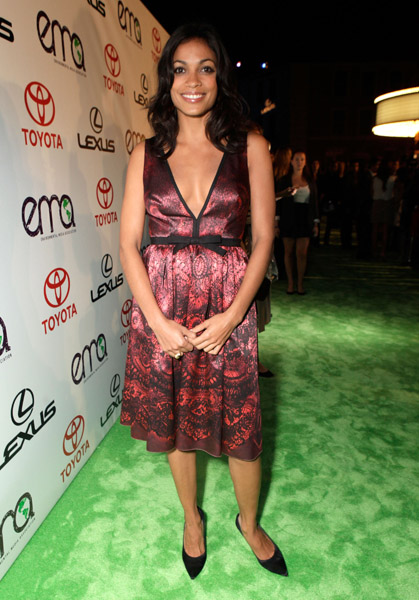 The longer hemline of Rosario Dawson's silky dress balances the sexy, deep v-neckline.