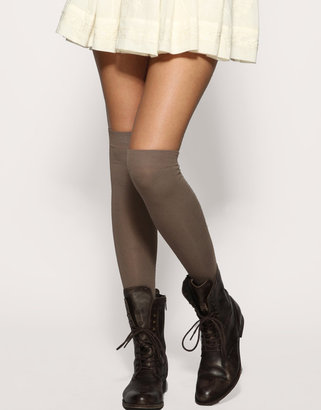 Over-the-knee socks, like these ASOS Mink Overknee Socks ($7), are a fun way to snazzy up a miniskirt and booties.