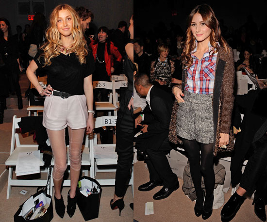 At Fashion Week with two different ways to wear shorts and tights.