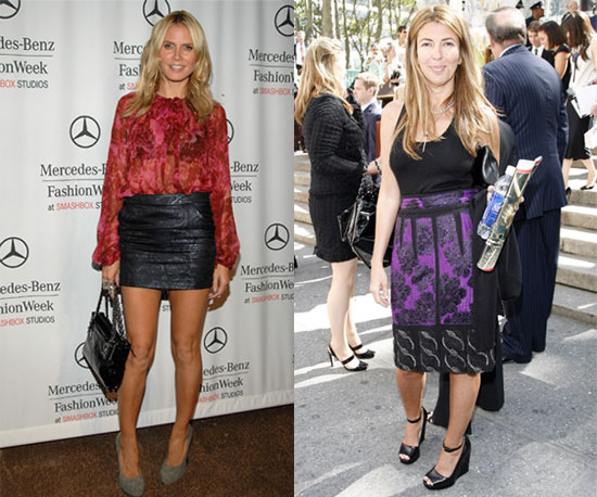 Heidi's hemline is short, Nina's is long.