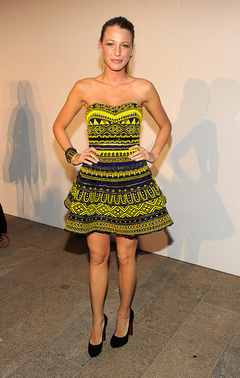 Inject color into your evening looks. Blake does this with a sexy yellow printed dress. When you're going this bright, keep your accessories simple – stick to stacked bangles or one giant cocktail ring.