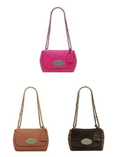 Lily Chain Bag in Hot Pink Ostrich, Chestnut Ostrich, and Oak Bengal Tiger