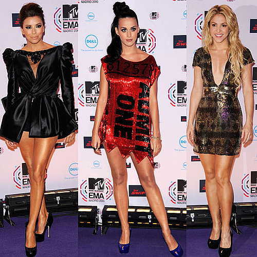 Red Carpet at MTV EMAs 2010 including Katy Perry, Shakira, Eva Longoria, Ke$ha, Rihanna, Miley Cyrus
