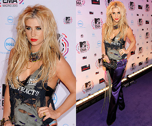 Photos of Ke$ha at the 2010 MTV Europe Music Awards in Madrid