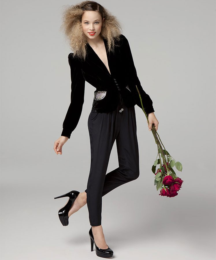 Embellished Velvet Blazer, $298Pleated Front Silk Pant, $178