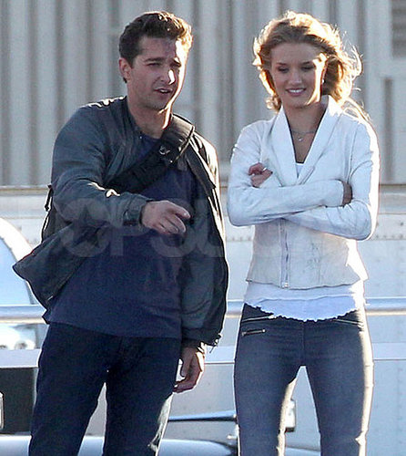 Pictures of Shia LaBeouf and Rosie Huntington-Whiteley on Set in LA