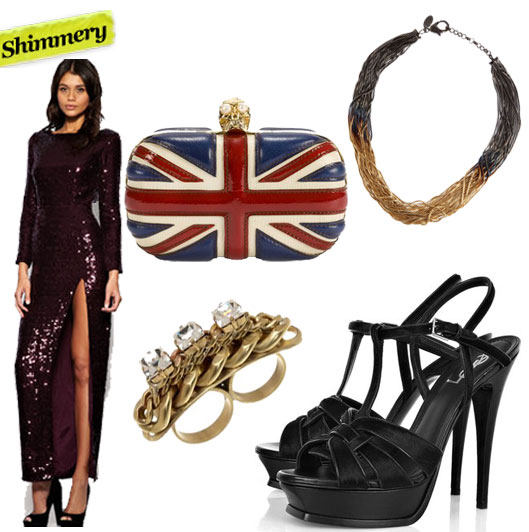Asos Sequin Side Split Maxi Dress ($207), Alexander McQueen Brittania Skull Clutch ($1,350), Iosselliani Short Burnished Chain Necklace ($355), Fallon Veruca Crystal Bar Ring ($125), Yves Saint Laurent Tribute Calf Hair Sandals ($1,125)