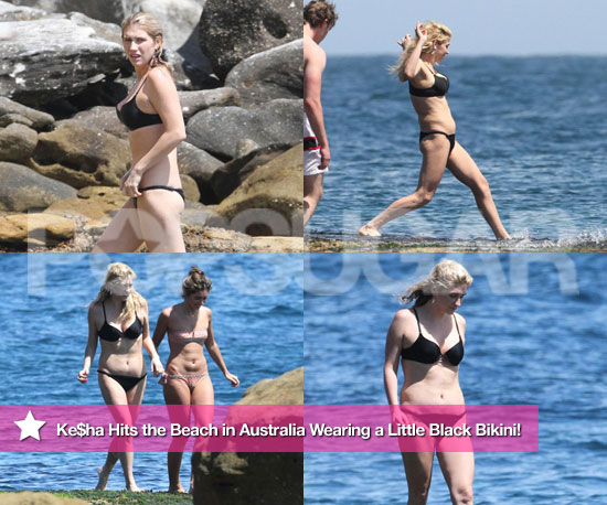 Ke$ha Hits the Beach in Australia Wearing a Little Black Bikini!