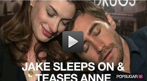 Video of Jake Gyllenhaal Sleeping on Anne Hathaway's Shoulder and Teasing Her 2010-11-10 12:45:00