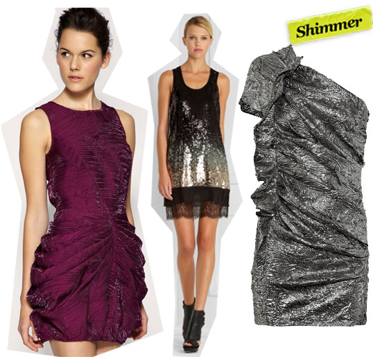 Asos Black Crinkle Gathered Hip Dress ($129), BCBG Max Azria Sequined Tank Dress ($548), Isabel Marant Gia Brocade Dress ($520)