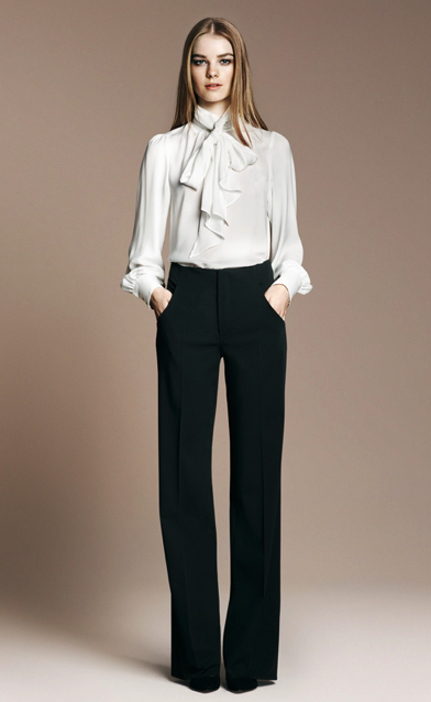 High Neck Bow Blouse ($80), Studio Bell Bottom Trousers ($90), Wide Heeled Pointed Toe Court Shoe ($100)
