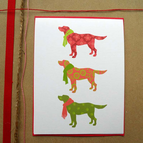 These Christmas Puppies cards ($10 for four) have a sweet, modern look.