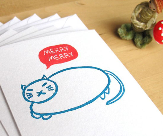 A cute Merry Cat Note Set ($12 for six) for your favorite cat lady.