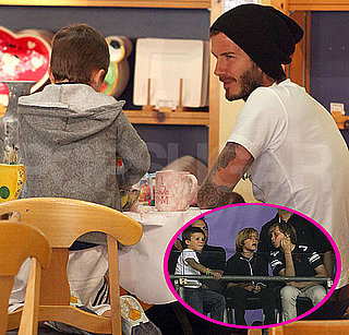 Pictures of David Beckham Playing With the Galaxy and Painting at Color Me Mine