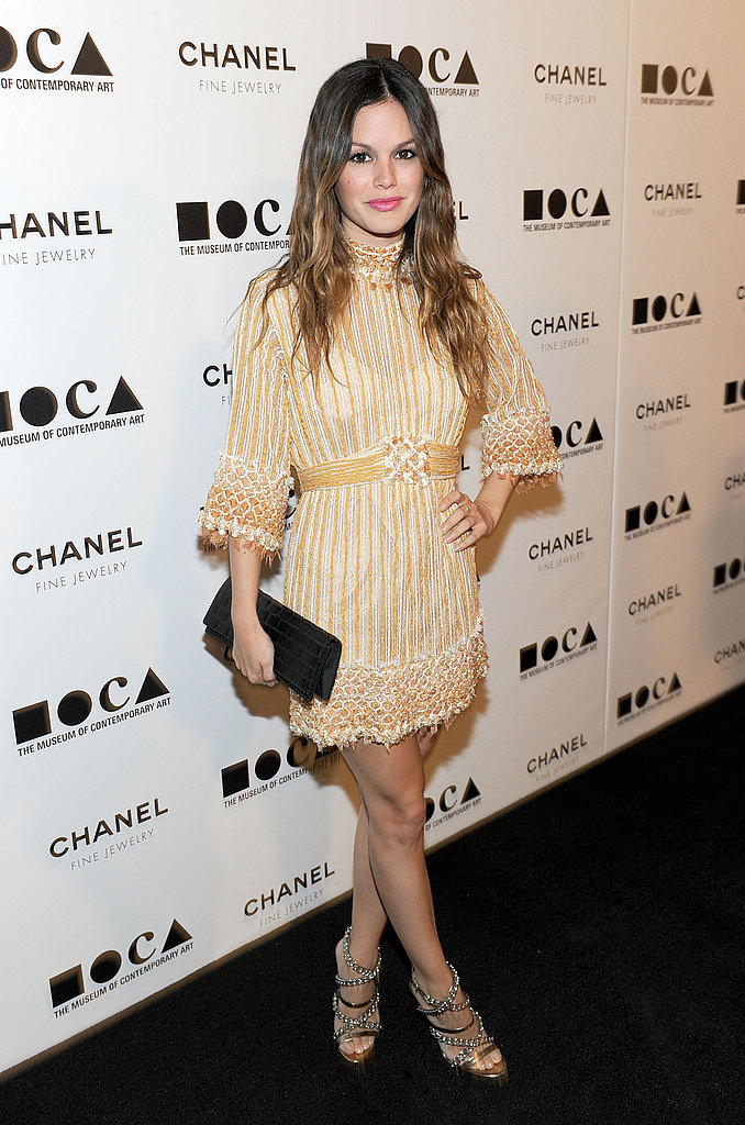 Rachel Bilson was another celeb who opted for Chanel, in a gold-hued, embroidered minidress.