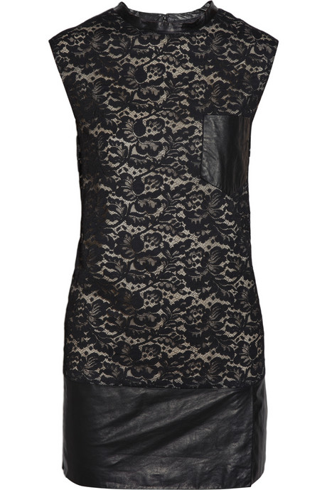 """""""This 3.1 Phillip Lim has the perfect combination of edginess and sophistication. A cool pair of booties would look great.""""  3.1 Phillip Lim Lace and Leather Mini Dress ($795)"""