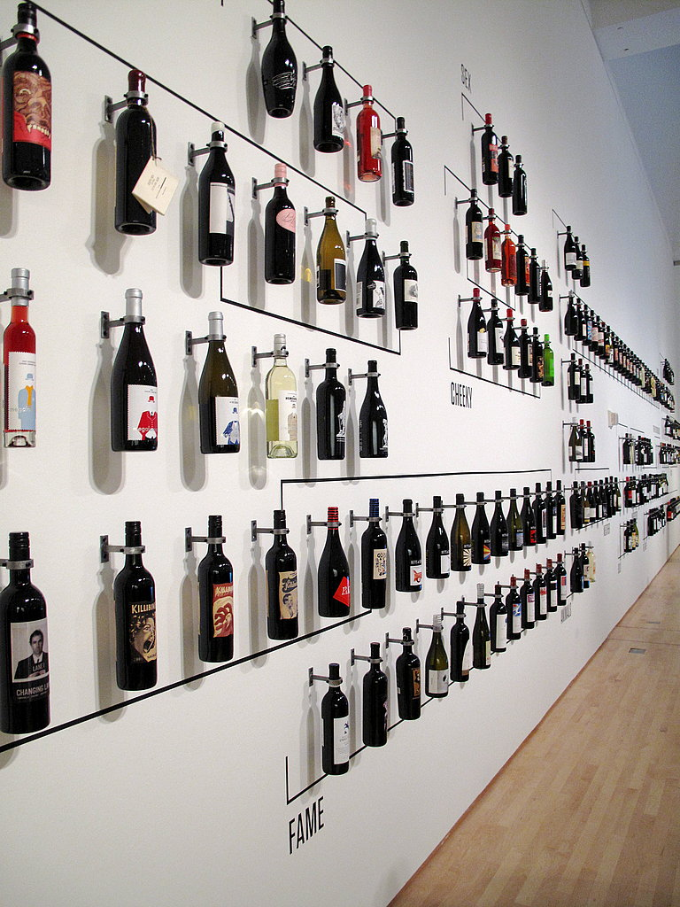 Wall of wine bottles