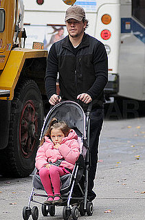 Pictures of Matt Damon and Isabella Damon Heading to Her School in NYC