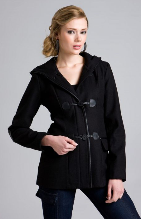 ABS Patent Leather Trim Toggle Coat ($100)