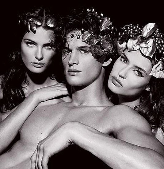 Isabeli Fontana, Garrett Neff, and Bianca Balti as Bacchus and two Bacchantes