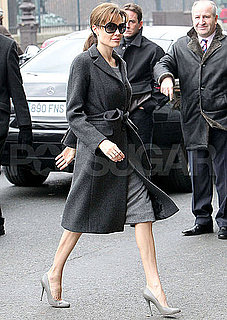 Pictures of Angelina Jolie on Her Way Into The Tourist Junket in Paris