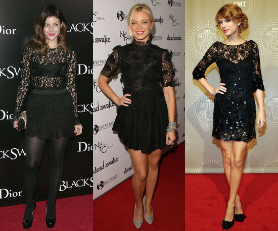 Celebs were totally feeling sexy black lace this week!
