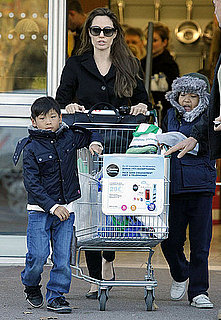 Pictures of Angelina Jolie, Pax, and Maddox Grocery Shopping in France