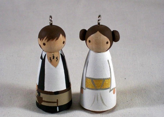 Wooden Princess Leia and Han Solo ornaments ($25)