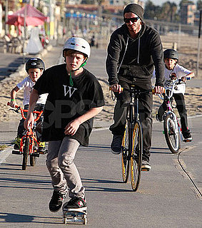 Pictures of David Beckham Riding Bikes in Venice Beach With Cruz, Brooklyn, and Romeo
