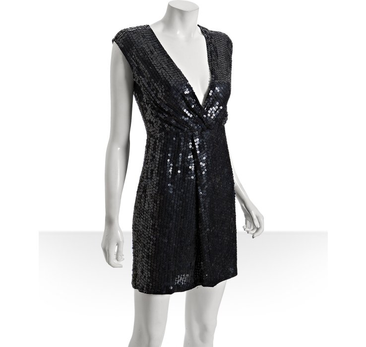 A.B.S. by Allen Schwartz Midnight Navy Sequin Deep V-Neck Dress ($248)