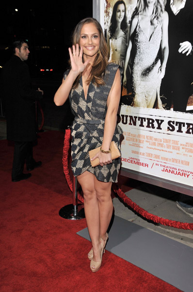 Minka Kelly got playful in a short hemline and graphic print.