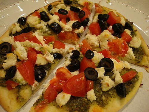Pesto and Almond Feta Pizza