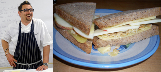 Chris Cosentino's Cheddar, Apple and Almond Sandwich