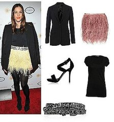 Get Liv Tyler's Flirty Feathered Skirt and Black Blazer Look