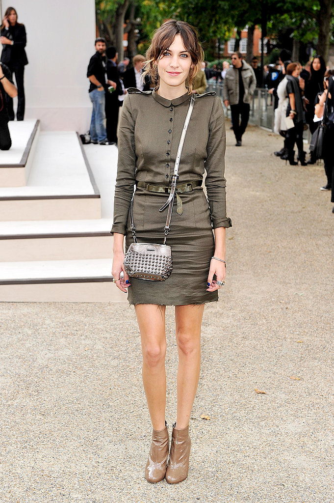 Alexa Chung in Burberry at the Burberry Spring 2011 fashion show.