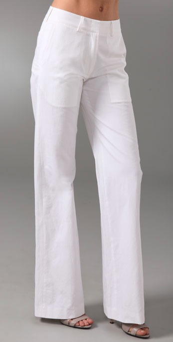 White wide-legged pants were spotted all over the runway from designers like Marc by Marc Jacobs, Torry Burch, Tommy Hilfiger, Jason Wu, and Jenni Kayne. This pair from the aforementioned is cut to perfection and not too transparent.  Jenni Kayne Trousers ($325)
