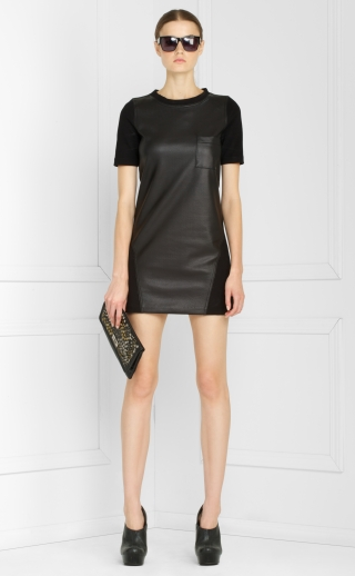 Faux Leather and Ponte T-Shirt Dress ($72, originally $178)