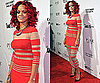 Photos of Rihanna in a Stripey Red Dress on New Years' Eve