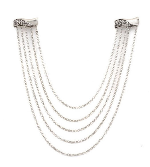 Palladium Plated Nugget Hair Chain ($45)