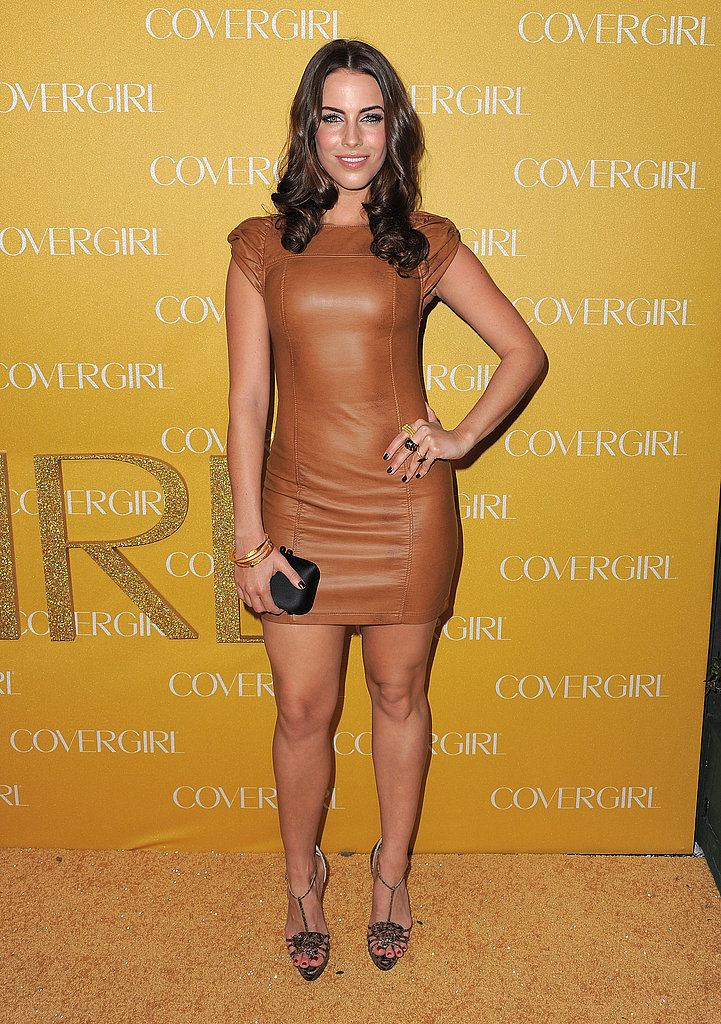 Jessica Lowndes rocked a super tight, super short tan leather H&M dress with bronze heels and a simple black clutch.