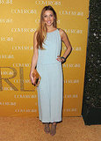 Whitney Port wore a pale blue What Goes Around Comes Around column dress, Sergio Rossi cage heels, and jewelry from BaubleBar.