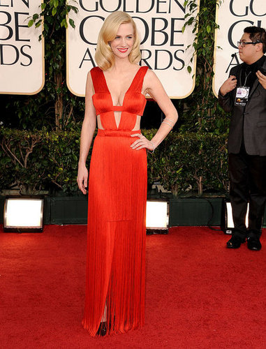 Pictures of January Jones at the 2011 Golden Globes Awards