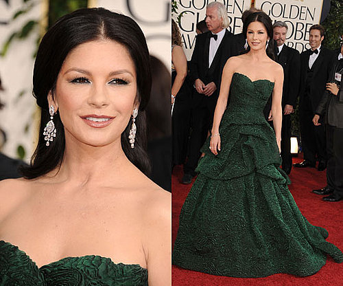 Catherine Zeta-Jones in green Monique Lhuillier at 2011 Golden Globe Awards