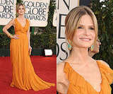 Kyra Sedgwick in mustard yellow at 2011 Golden Globe Awards