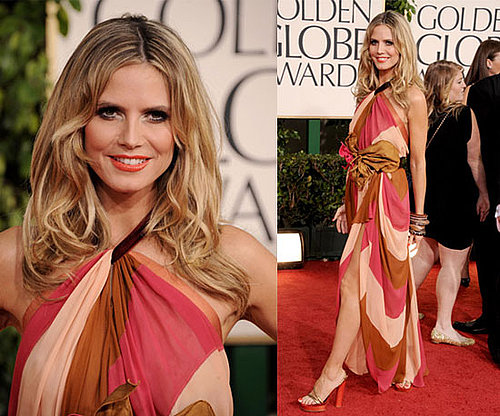 Heidi Klum's 70s inspired Marc Jacobs dress at the 2011 Golden Globe Awards