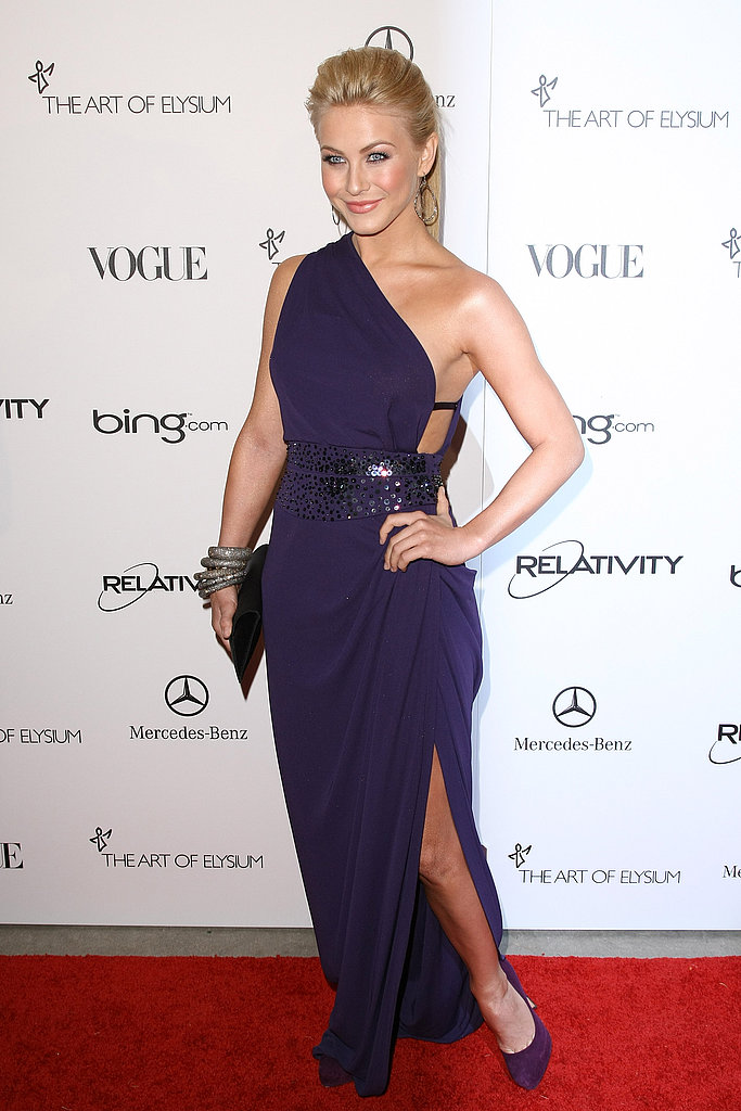 Julianne Hough in a purple one-shoulder gown.
